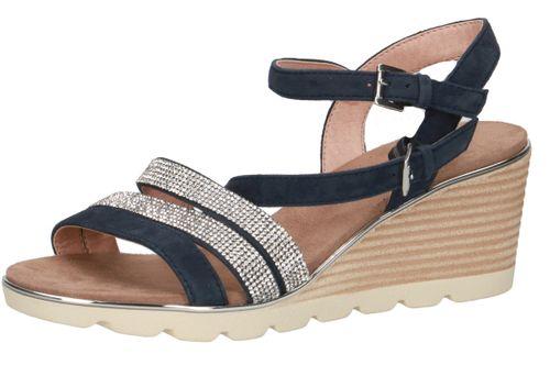 Caprice Damen Keil-Sandale Sandalette Blau 9-28709-24 828 Ocean Crystal – Bild 1