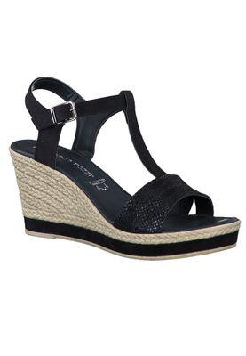 Marco Tozzi Damen Keil-Sandale Leder Blau Navy Comb. 2-2-28340-24 890 – Bild 1