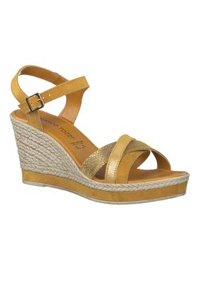 Marco Tozzi Damen Keil-Sandale Leder Gelb Yellow Comb. 2-2-28346-24 614 – Bild 2