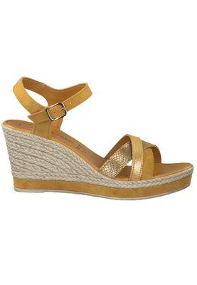 Marco Tozzi Damen Keil-Sandale Leder Gelb Yellow Comb. 2-2-28346-24 614 – Bild 3