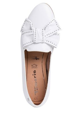 Tamaris 1-24229-24 113 Damen White Leather/Studs Weiss Leder Ballerina mit TOUCH-IT Sohle – Bild 3