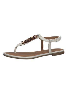 Tamaris Damen Zehentrenner Sandalen Sandaletten 1-28160-24 Weiß 418 Ivory Leder mit TOUCH-IT – Bild 1