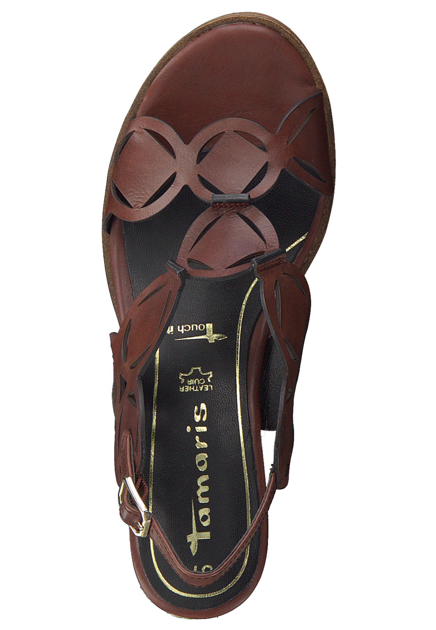 Tamaris 1 28312 24 557 Damen Granata Braun Wedge Platform Sandals Sandaletten mit TOUCH IT Sohle