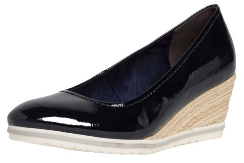 Tamaris 1-22441-24 826 Damen Navy Patent Blau Keilpumps mit TOUCH-IT Sohle – Bild 1