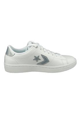 Converse Damenschuhe-Sneaker 568900C Converse All-Court - OX Leder weiß White Silver White – Bild 3