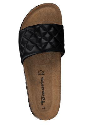Tamaris Damen Klassische Sandalen Sandaletten 1-27509-34 Schwarz 001 Black Leder und Textil mit Leather Sock – Bild 3