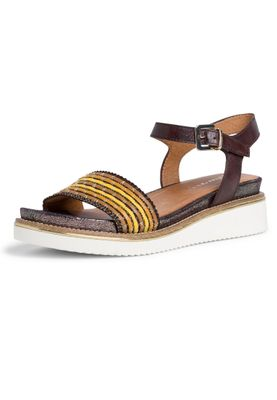 Tamaris Damen Komfort Sandalen Sandaletten 1-28202-24 Braun 385 Cafe Comb. Leder und Textil mit Leather Sock & TOUCH-IT – Bild 1