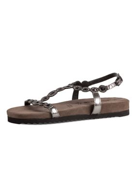 Tamaris Damen Komfort Sandalen Sandaletten 1-28241-24 Silberfarben 966 Pewter Glam Leder mit Leather Sock & TOUCH-IT – Bild 1