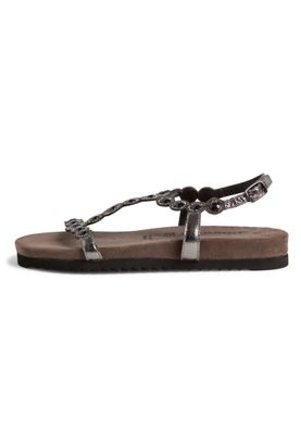 Tamaris Damen Komfort Sandalen Sandaletten 1-28241-24 Silberfarben 966 Pewter Glam Leder mit Leather Sock & TOUCH-IT – Bild 5