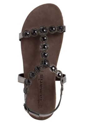 Tamaris Damen Komfort Sandalen Sandaletten 1-28241-24 Silberfarben 966 Pewter Glam Leder mit Leather Sock & TOUCH-IT – Bild 3