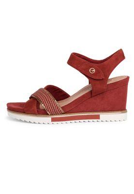 Tamaris Damen  Sandalen Sandaletten 1-28350-24 Rot 557 Granata Leder mit Leather Sock & TOUCH-IT – Bild 3
