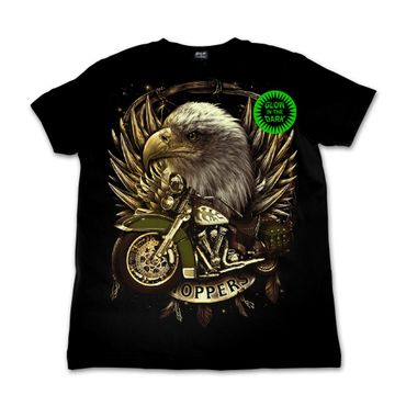 Glow in the Dark Shirt  Schwarz  Adler Chopper  Large