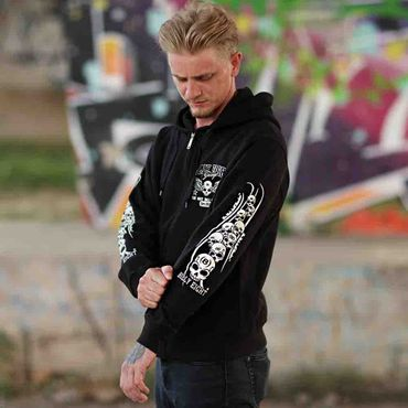 Billy Eight Kapuzenjacke Unisex Black Baron Logo – Bild 2