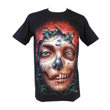 Glow in the Dark Shirt  Schwarz  La Catrina Totenschädel  Medium  – Bild 1
