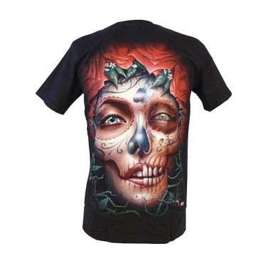 Glow in the Dark Shirt  Schwarz  La Catrina Totenschädel  Medium  – Bild 2