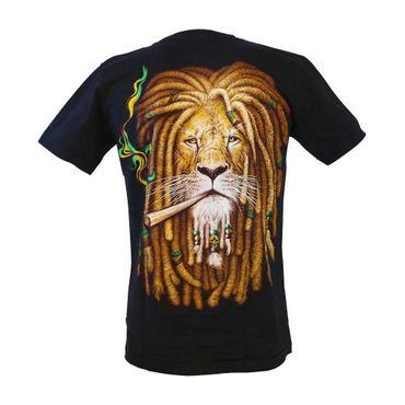 Wild - Wild Rastafari Löwen Kopf T-Shirt Schwarz mit Aufdruck M – Bild 2
