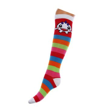 Dark World - Monster Regenbogen Socken Gestreift Einheitsgröße  Überknie Socken  Multicolor Multicolor Gestreift Funny Monster  Unisize – Bild 1