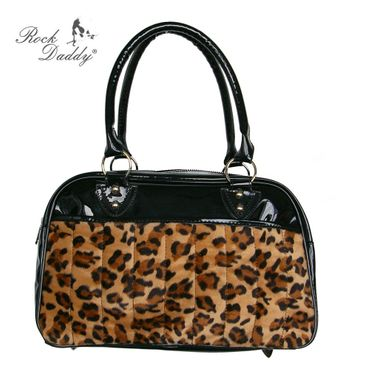 Handtasche aus Lack mit Leofellaplikation - braun