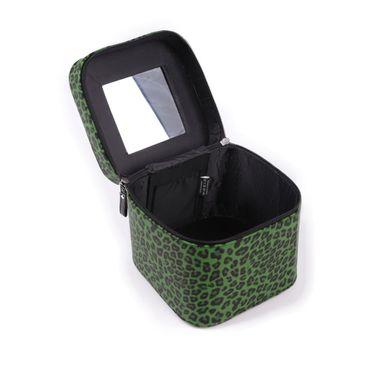 Grüne Leopard Kosmetik Handtasche – Bild 2