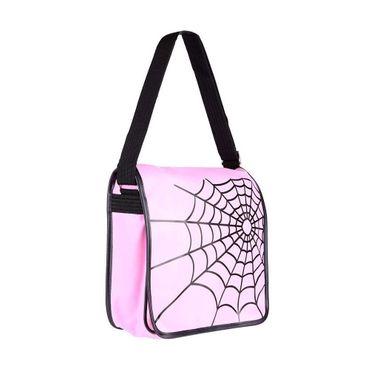 Pinke Spinnennetz Messenger Tasche – Bild 2
