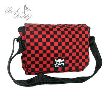 Tasche in Karo schwarz/rot mit einem Totenkopf
