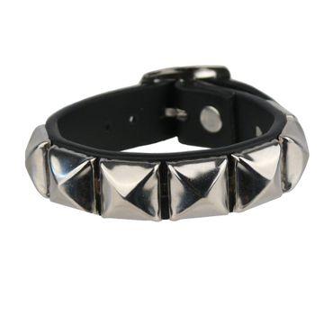 Armband aus Kunstleder Metall Pyramiden – Bild 1