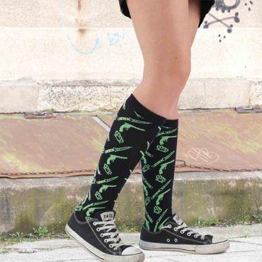 Limetten Grüne Waffen Socken Kniesocken  Schwarz  Rockabilly Kampfwaffen  Unisize – Bild 2