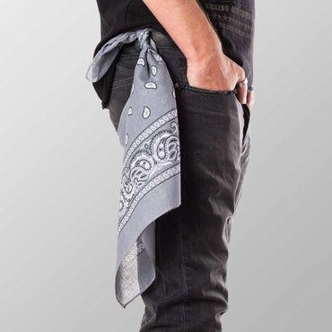 Bandana Halstuch  Grau Paisley 55 cm x 55 cm – Bild 3