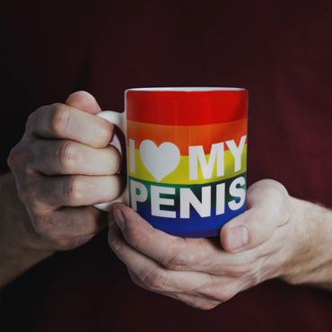 Tasse- Keramik I Love My Penis-Gay Flagge – Bild 1