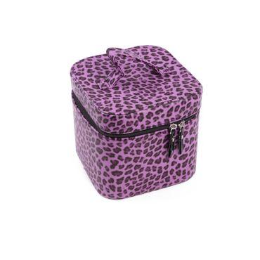 Lila Leopard Kosmetik Würfeltasche – Bild 1