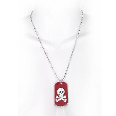 Metallkette mit Dog Tag (klein) - Pirat - Bordeaux