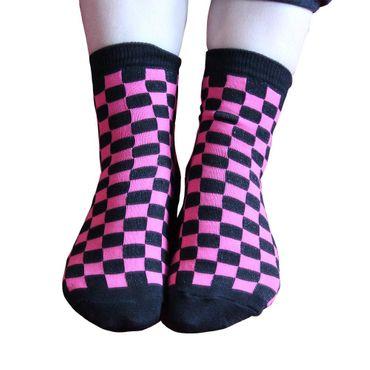 Pinke Karo Socken Kurzschaft Socken  Schwarz Pink  Schachbrett Kariert  Unisize – Bild 1