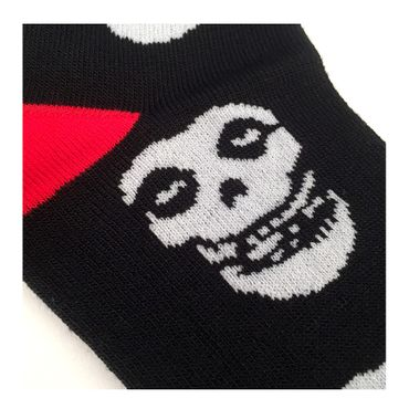 Rock Skull Socken Kleine Socken  Schwarz Rot  Misfit Skull Schädel  Unisize – Bild 3
