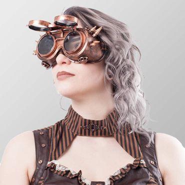 Brillen mit Spitzen auf beiden Seiten und ausklappbare Front - Schwarz – Bild 2
