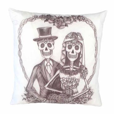 Skelett Hochzeits Paar Zierkissen  – Bild 1