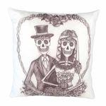 Skelett Hochzeits Paar Zierkissen  001