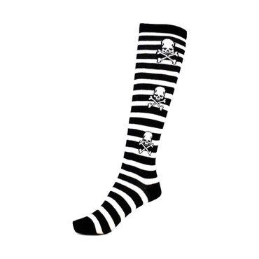 Jolly Roger Totenkopf Socken Lange Socken  Schwarz Weiß  Totenkopf Skull  Unisize – Bild 1