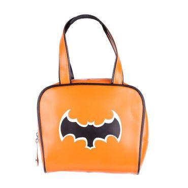 Orangene Bowling Handtasche mit Schwarzer Fledermaus – Bild 1
