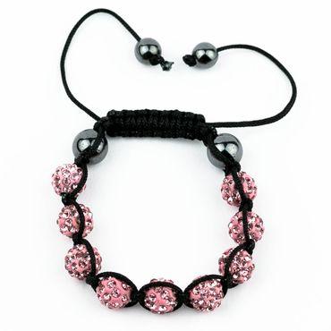 Angel Shamballa Armband mit 9 Kristall Beads in rosa (Glücksbringer)