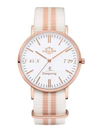 Sailor wrist watch Langeoog limited edition rosègold/white