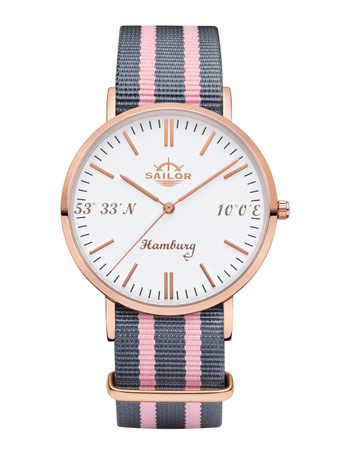 Sailor wrist watch Hamburg limited edition rosègold/white