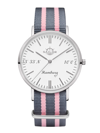 Sailor wrist watch Hamburg limited edition silver/white