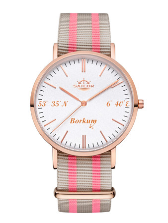 Sailor wrist watch Borkum limited edition rosègold/white