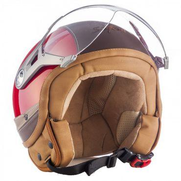 SOXON SP-325 Urban red - Jethelm LEDER Vespa Jet Roller Helm Motorradhelm – Bild 2