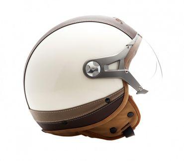 SOXON SP-325 Urban creme Jethelm LEDER Vespa Jet Roller Helm Motorradhelm  – Bild 5
