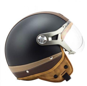 SOXON SP-325 Urban black - Jethelm LEDER Vespa Jet Roller Helm Motorradhelm – Bild 6