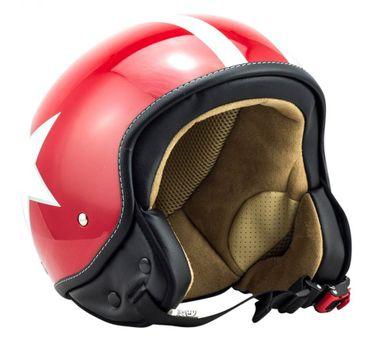 SOXON SP-301 red Star Jethelm Jet Vespa Mofa Rollerhelm Motorradhelm Stern