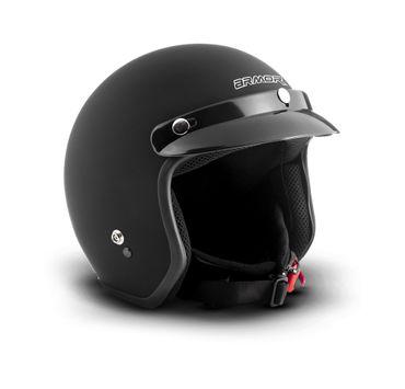ARMOR AV-47 Solid black Jet Vespa Roller Helm Motorradhelm + Schirm