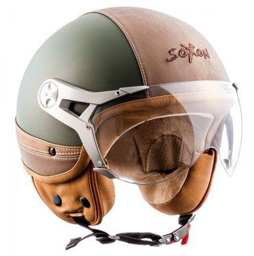 SOXON SP-325 Urban green - Jethelm LEDER Vespa Jet Roller Helm Motorradhelm – Bild 2