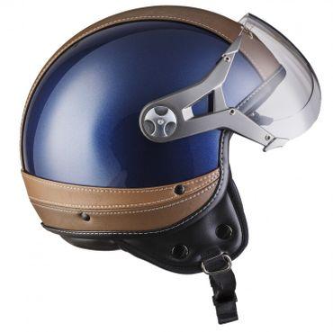 SOXON SP-325 Urban blue Jethelm LEDER Vespa Jet Roller Helm Motorradhelm XS S M L XL – Bild 6